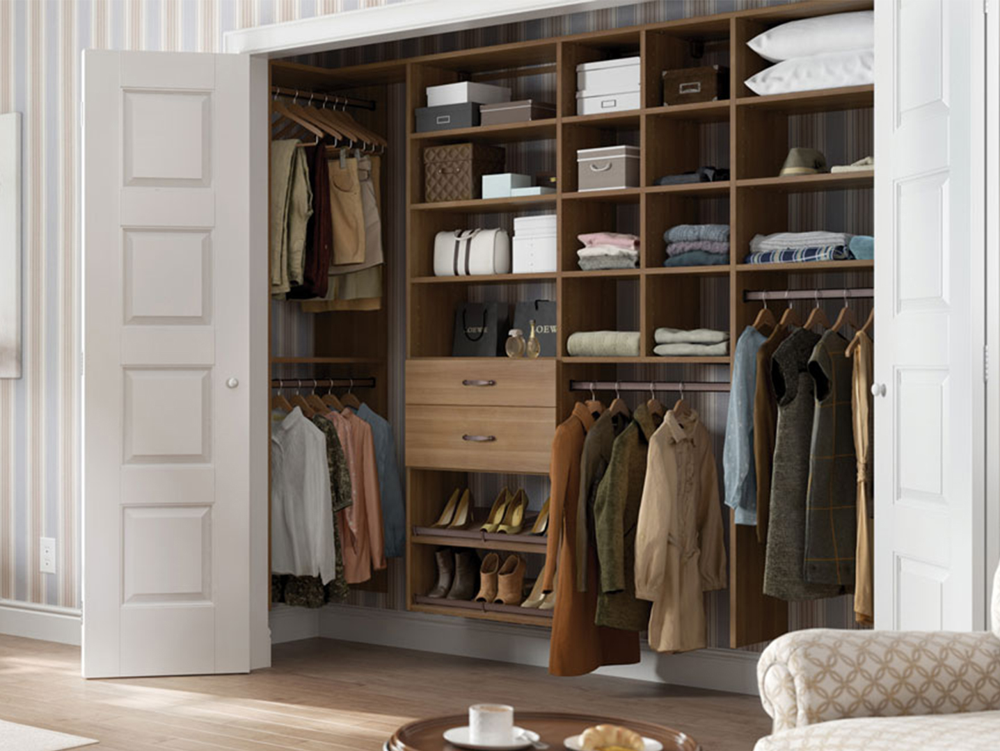 Reach In Closet 									<p>A reach-in closet requires a combination of high function and bedroom design aesthetic. Drawers, shelves, inserts, differing heights of hanging rods, and other options give clothing, shoes, and accessories a home that is organized and easily accessible.</p>